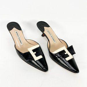 MANOLO BLAHNIK Patent Buckle Pointed Kitten Heels